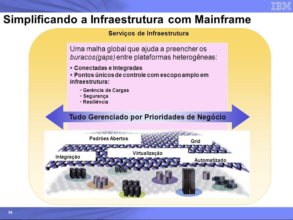 © 2006 IBM Corporation IBM Systems & Technology Group 14 Simplificando a Infraestrutura com Mainframe Padrões Abertos Integração Virtualização Automat