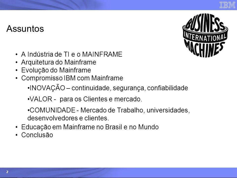 © 2006 IBM Corporation IBM Systems & Technology Group 2 Assuntos A Indústria de TI e o MAINFRAME Arquitetura do Mainframe Evolução do Mainframe Compro