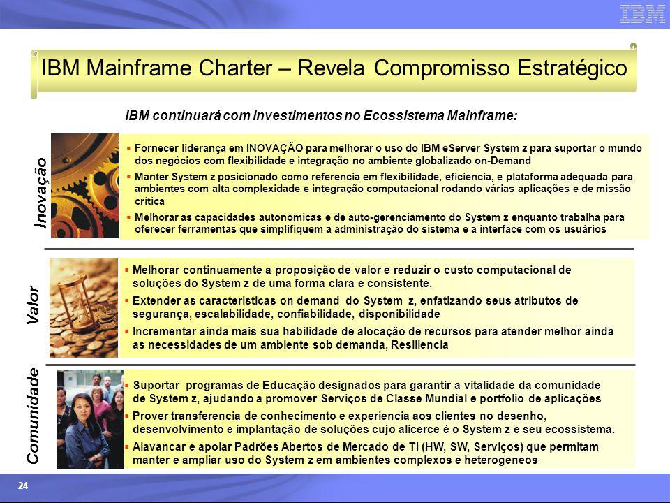 © 2006 IBM Corporation IBM Systems & Technology Group 24 IBM Mainframe Charter – Revela Compromisso Estratégico  Melhorar continuamente a proposição