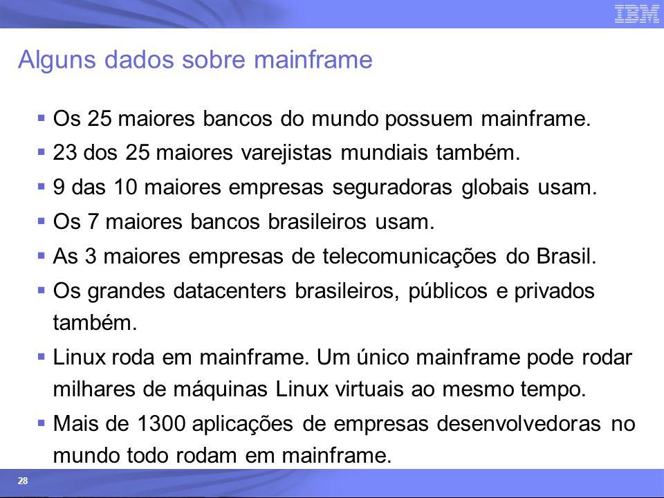 © 2006 IBM Corporation IBM Systems & Technology Group 28 Alguns dados sobre mainframe  Os 25 maiores bancos do mundo possuem mainframe.  23 dos 25 m
