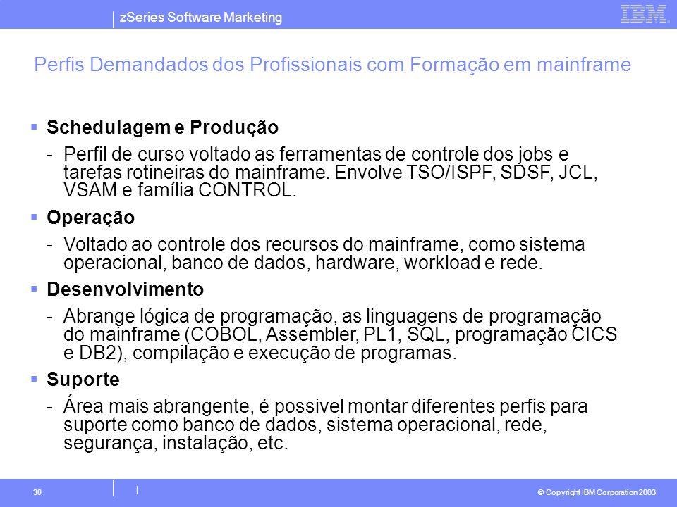 zSeries Software Marketing © Copyright IBM Corporation 2003 | 38 Perfis Demandados dos Profissionais com Formação em mainframe  Schedulagem e Produçã