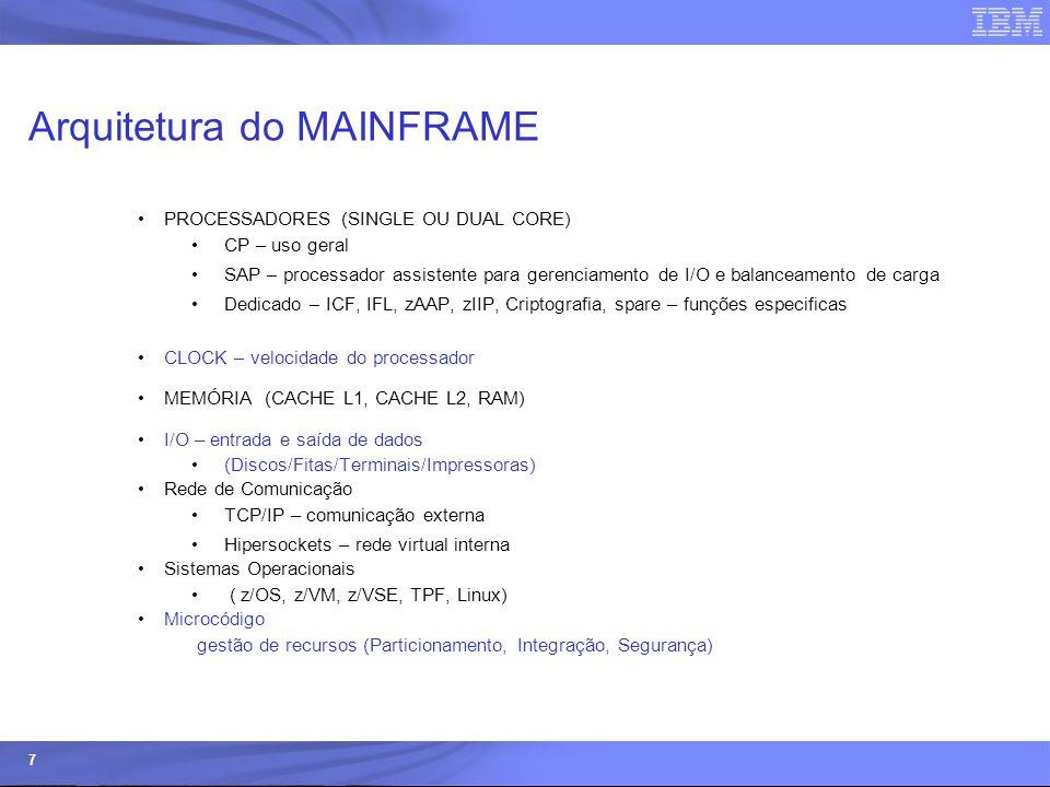 © 2006 IBM Corporation IBM Systems & Technology Group 7 Arquitetura do MAINFRAME PROCESSADORES (SINGLE OU DUAL CORE) CP – uso geral SAP – processador