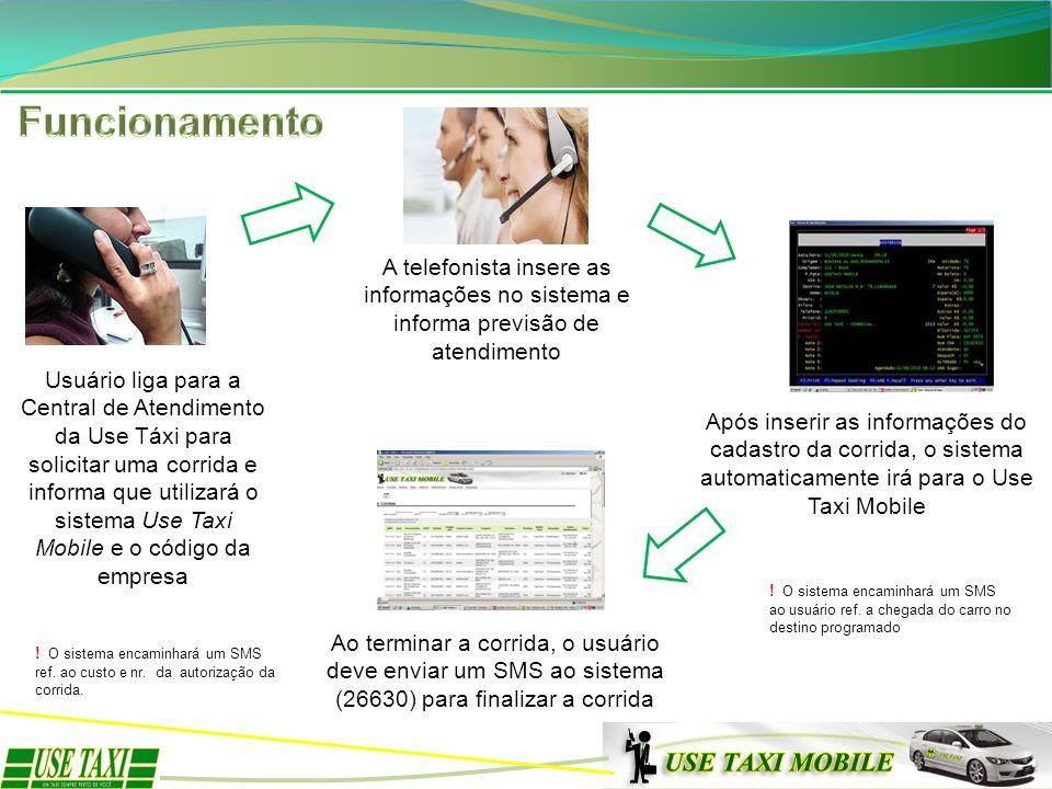 Usuário liga para a Central de Atendimento da Use Táxi para solicitar uma corrida e informa que utilizará o sistema Use Taxi Mobile e o código da empr