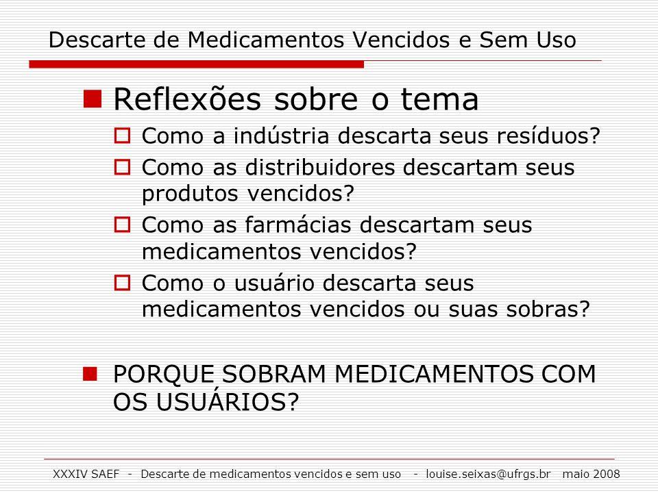 XXXIV SAEF - Descarte de medicamentos vencidos e sem uso - louise.seixas@ufrgs.br maio 2008 Descarte de Medicamentos Vencidos e Sem Uso Reflexões sobr