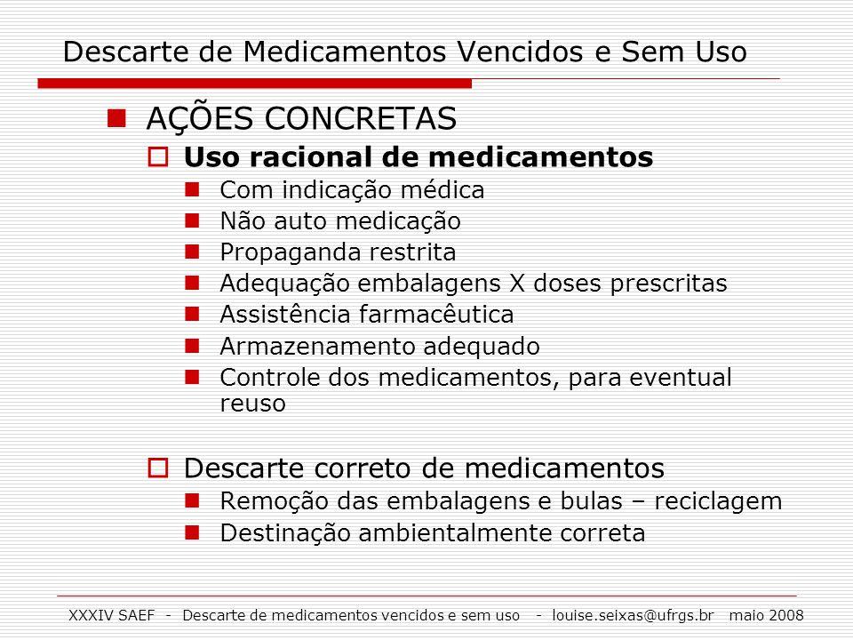 XXXIV SAEF - Descarte de medicamentos vencidos e sem uso - louise.seixas@ufrgs.br maio 2008 Descarte de Medicamentos Vencidos e Sem Uso AÇÕES CONCRETA