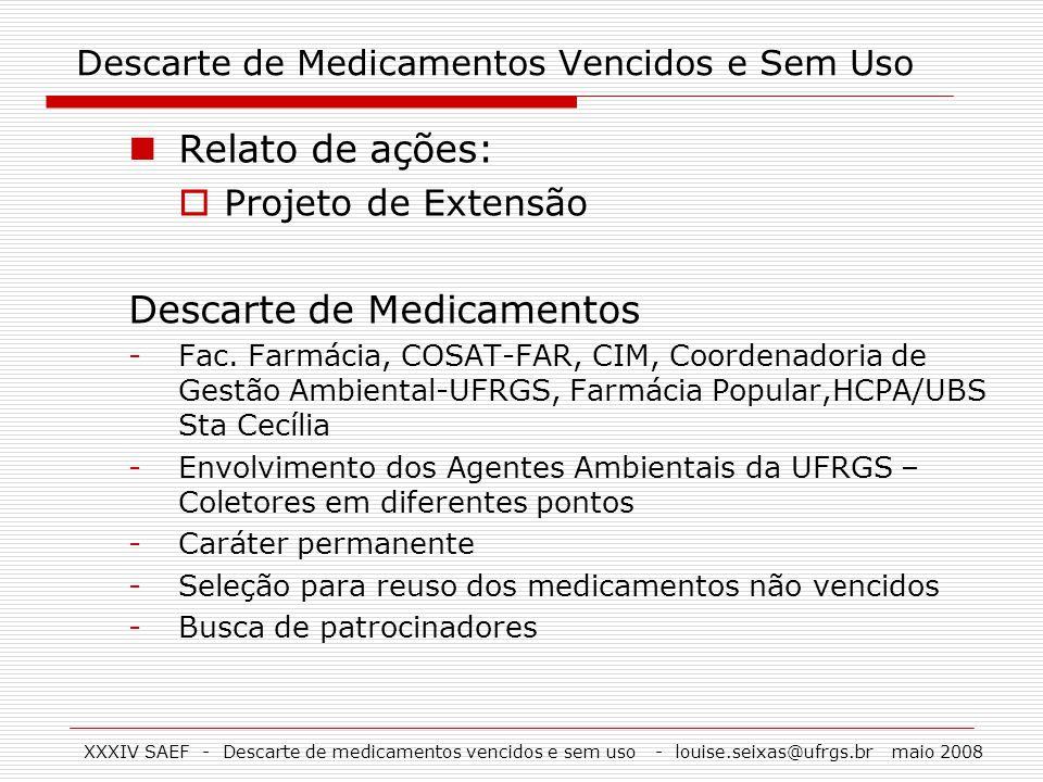 XXXIV SAEF - Descarte de medicamentos vencidos e sem uso - louise.seixas@ufrgs.br maio 2008 Descarte de Medicamentos Vencidos e Sem Uso Relato de açõe