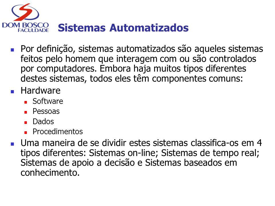 Sistemas Automatizados Por definição, sistemas automatizados são aqueles sistemas feitos pelo homem que interagem com ou são controlados por computado