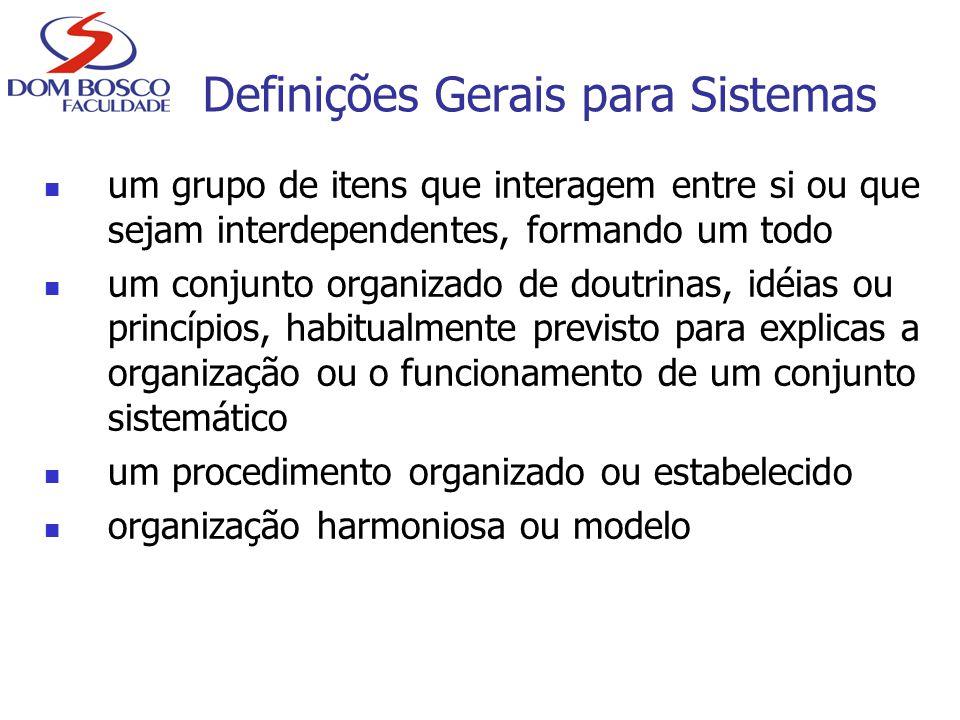 Definições Gerais para Sistemas um grupo de itens que interagem entre si ou que sejam interdependentes, formando um todo um conjunto organizado de dou