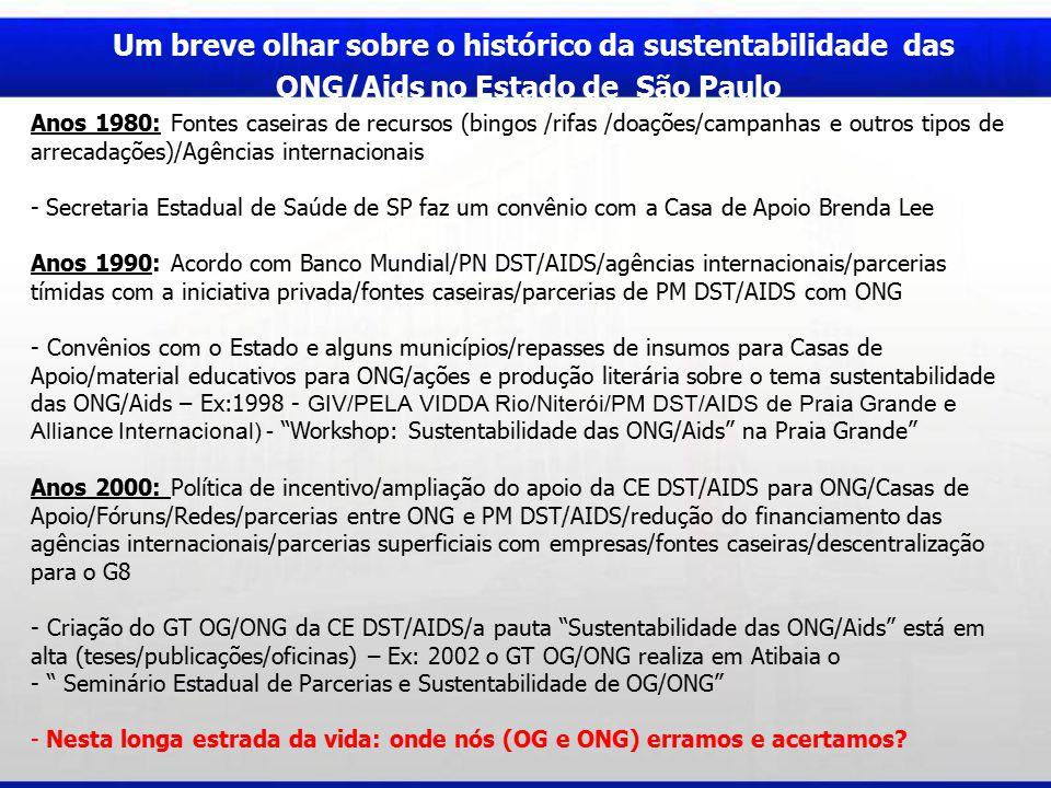 Um breve olhar sobre o histórico da sustentabilidade das ONG/Aids no Estado de São Paulo Anos 1980: Fontes caseiras de recursos (bingos /rifas /doações/campanhas e outros tipos de arrecadações)/Agências internacionais - Secretaria Estadual de Saúde de SP faz um convênio com a Casa de Apoio Brenda Lee Anos 1990: Acordo com Banco Mundial/PN DST/AIDS/agências internacionais/parcerias tímidas com a iniciativa privada/fontes caseiras/parcerias de PM DST/AIDS com ONG - Convênios com o Estado e alguns municípios/repasses de insumos para Casas de Apoio/material educativos para ONG/ações e produção literária sobre o tema sustentabilidade das ONG/Aids – Ex:1998 - GIV/PELA VIDDA Rio/Niterói/PM DST/AIDS de Praia Grande e Alliance Internacional) - Workshop: Sustentabilidade das ONG/Aids na Praia Grande Anos 2000: Política de incentivo/ampliação do apoio da CE DST/AIDS para ONG/Casas de Apoio/Fóruns/Redes/parcerias entre ONG e PM DST/AIDS/redução do financiamento das agências internacionais/parcerias superficiais com empresas/fontes caseiras/descentralização para o G8 - Criação do GT OG/ONG da CE DST/AIDS/a pauta Sustentabilidade das ONG/Aids está em alta (teses/publicações/oficinas) – Ex: 2002 o GT OG/ONG realiza em Atibaia o - Seminário Estadual de Parcerias e Sustentabilidade de OG/ONG - Nesta longa estrada da vida: onde nós (OG e ONG) erramos e acertamos