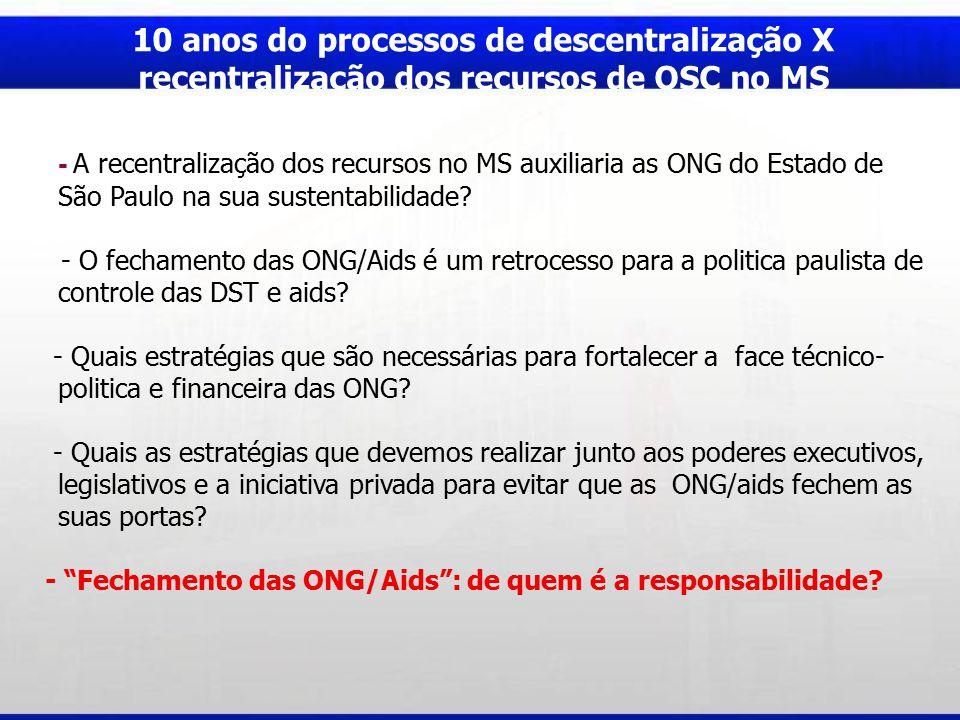 10 anos do processos de descentralização X recentralização dos recursos de OSC no MS - A recentralização dos recursos no MS auxiliaria as ONG do Estado de São Paulo na sua sustentabilidade.