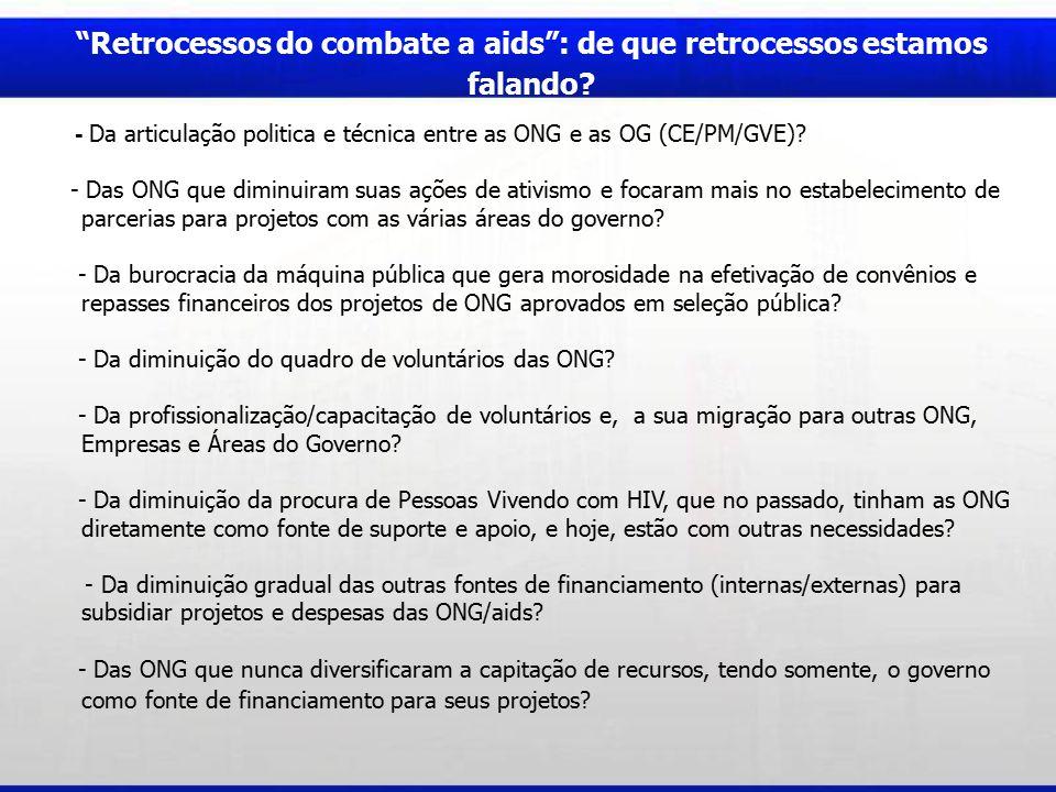 Provocações e reflexões...- O que as ONG/AIDS podem fazer para não perderem as suas conquistas.