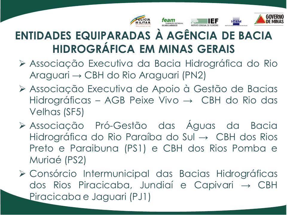 ENTIDADES EQUIPARADAS À AGÊNCIA DE BACIA HIDROGRÁFICA EM MINAS GERAIS  Associação Executiva da Bacia Hidrográfica do Rio Araguari → CBH do Rio Aragua