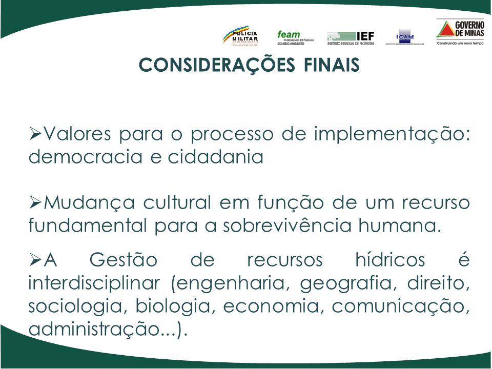 CONSIDERAÇÕES FINAIS  Valores para o processo de implementação: democracia e cidadania  Mudança cultural em função de um recurso fundamental para a