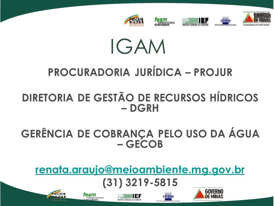 IGAM PROCURADORIA JURÍDICA – PROJUR DIRETORIA DE GESTÃO DE RECURSOS HÍDRICOS – DGRH GERÊNCIA DE COBRANÇA PELO USO DA ÁGUA – GECOB renata.araujo@meioam