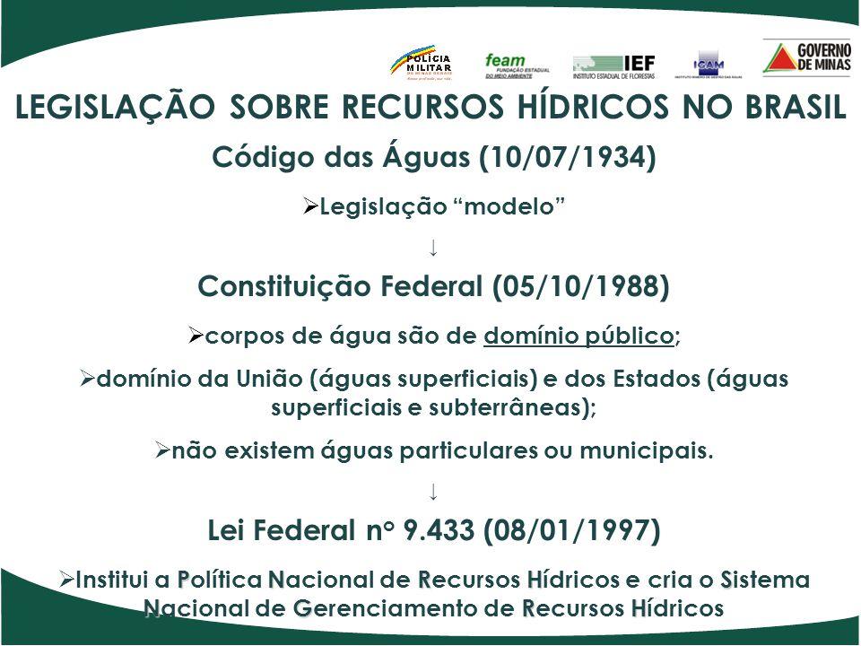 LEGISLAÇÃO SOBRE RECURSOS HÍDRICOS NO ESTADO DE MINAS GERAIS  CONSTITUIÇÃO ESTADUAL, DE 21/09/1989.