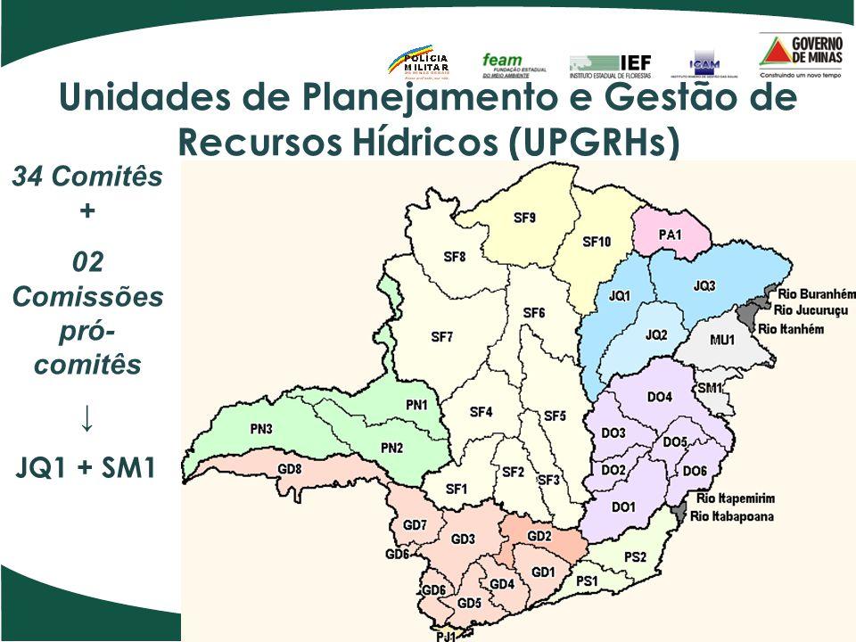 Unidades de Planejamento e Gestão de Recursos Hídricos (UPGRHs) 34 Comitês + 02 Comissões pró- comitês ↓ JQ1 + SM1