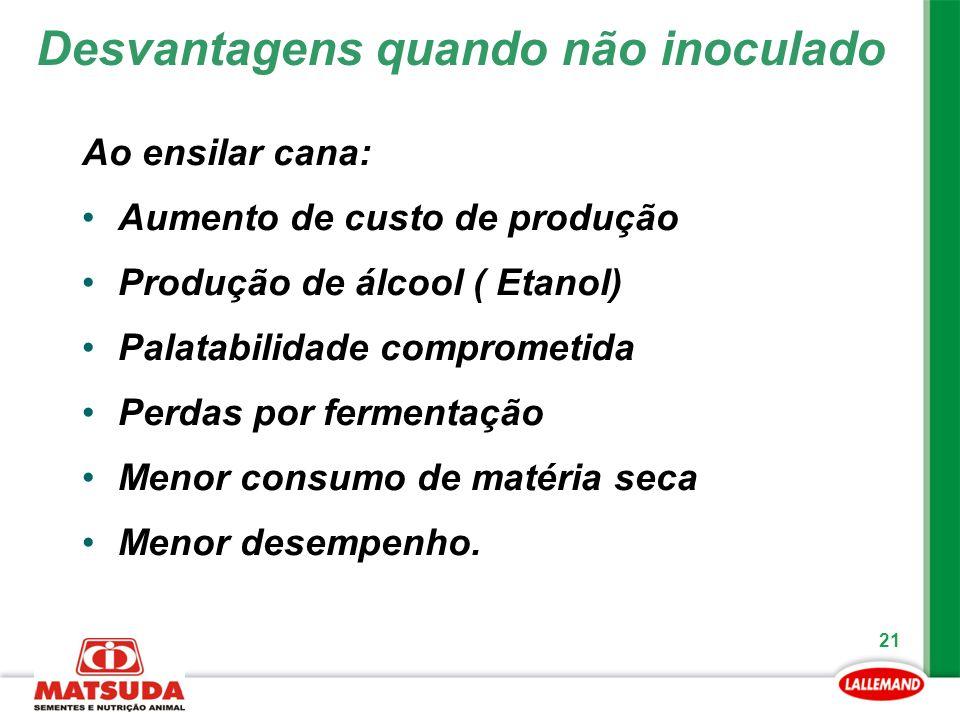 21 Ao ensilar cana: Aumento de custo de produção Produção de álcool ( Etanol) Palatabilidade comprometida Perdas por fermentação Menor consumo de maté