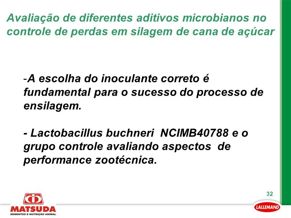 32 -A escolha do inoculante correto é fundamental para o sucesso do processo de ensilagem. - Lactobacillus buchneri NCIMB40788 e o grupo controle aval