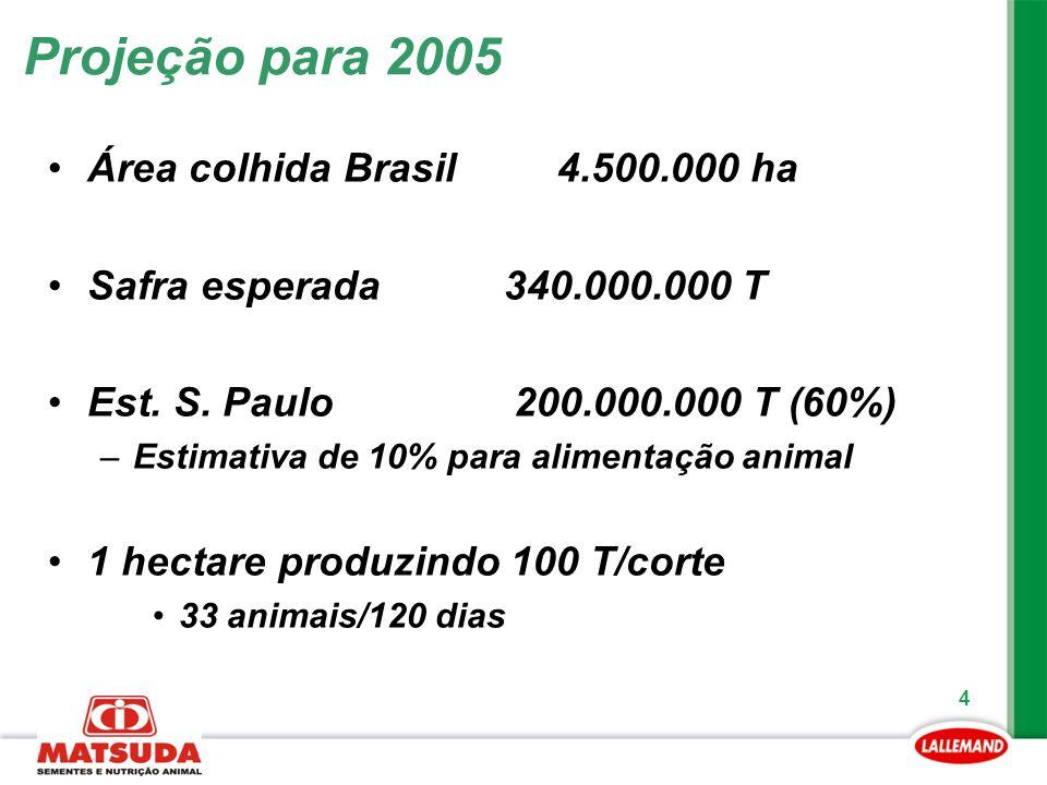 4 Projeção para 2005 Área colhida Brasil 4.500.000 ha Safra esperada 340.000.000 T Est. S. Paulo 200.000.000 T (60%) –Estimativa de 10% para alimentaç