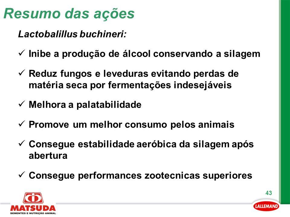 43 Lactobalillus buchineri: Inibe a produção de álcool conservando a silagem Reduz fungos e leveduras evitando perdas de matéria seca por fermentações