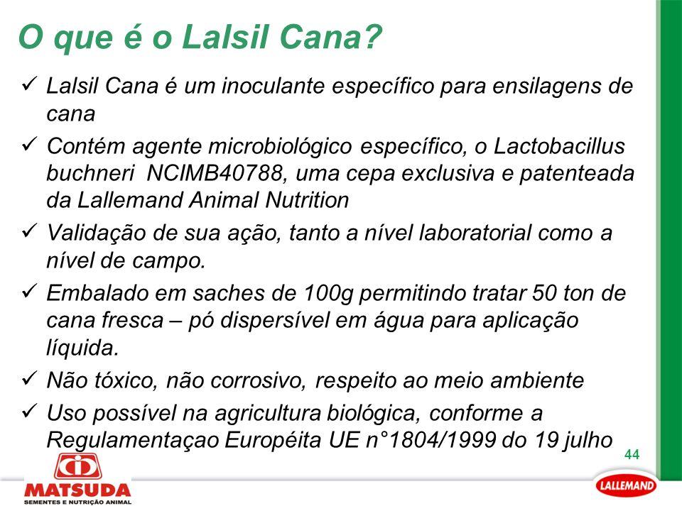 44 Lalsil Cana é um inoculante específico para ensilagens de cana Contém agente microbiológico específico, o Lactobacillus buchneri NCIMB40788, uma ce