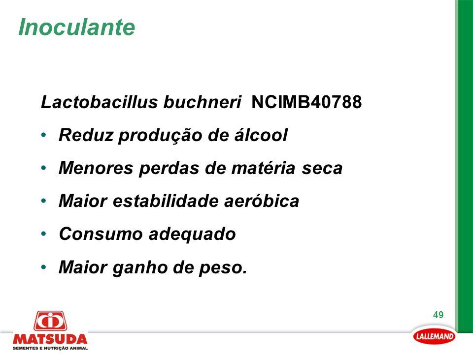 49 Lactobacillus buchneri NCIMB40788 Reduz produção de álcool Menores perdas de matéria seca Maior estabilidade aeróbica Consumo adequado Maior ganho