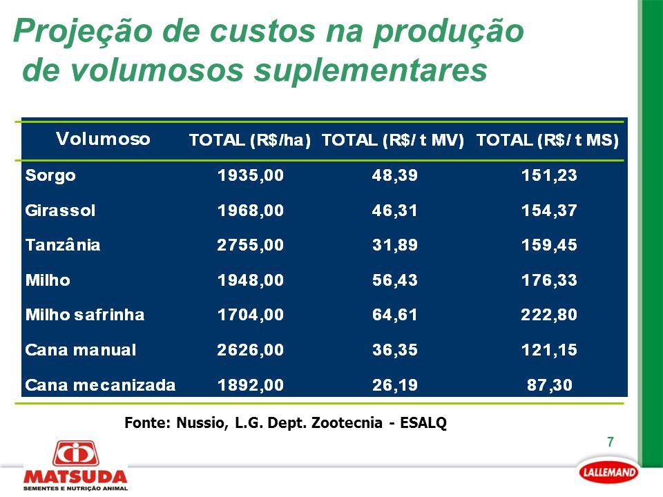 7 Projeção de custos na produção de volumosos suplementares Fonte: Nussio, L.G. Dept. Zootecnia - ESALQ