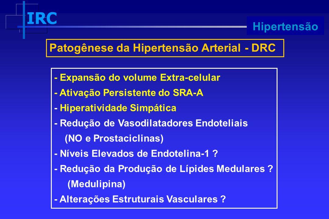 IRC Progressão Patogênese da Hipertensão Arterial - DRC - Expansão do volume Extra-celular - Ativação Persistente do SRA-A - Hiperatividade Simpática