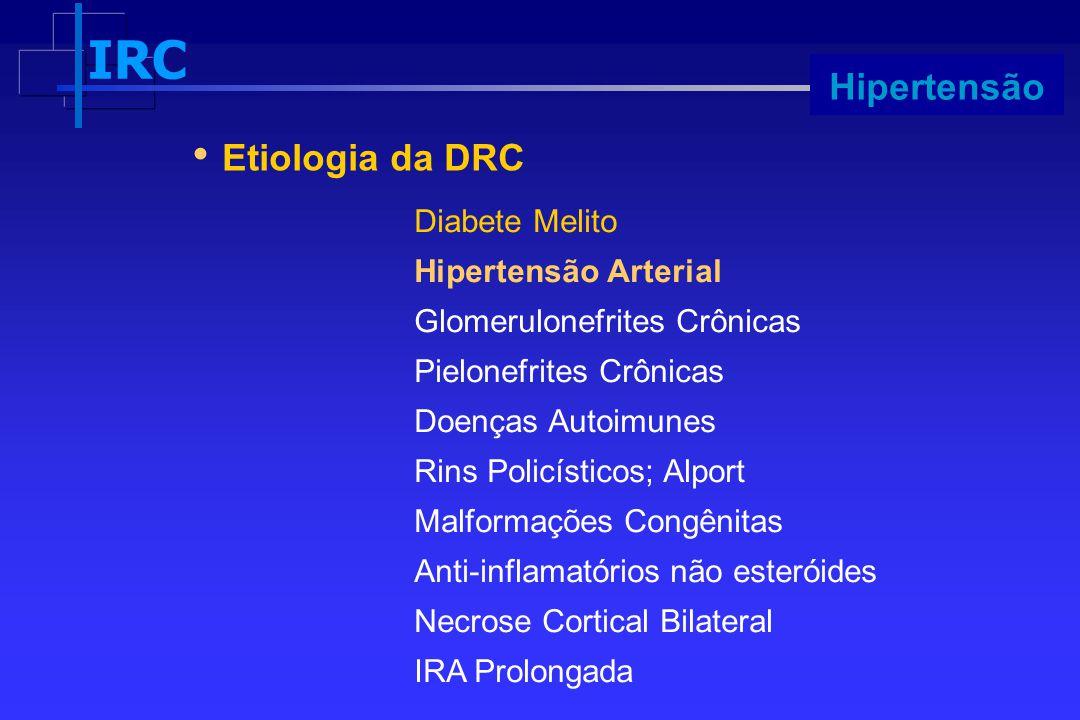 IRC Progressão Etiologia da DRC Diabete Melito Hipertensão Arterial Glomerulonefrites Crônicas Pielonefrites Crônicas Doenças Autoimunes Rins Policíst