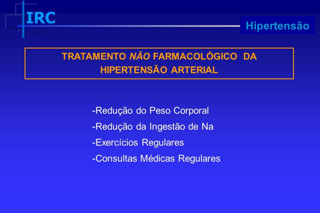 IRC Progressão TRATAMENTO NÃO FARMACOLÓGICO DA HIPERTENSÃO ARTERIAL -Redução do Peso Corporal -Redução da Ingestão de Na -Exercícios Regulares -Consul