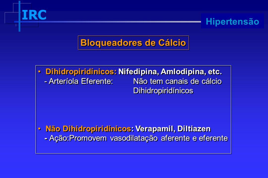 IRC Progressão Dihidropiridínicos: Nifedipina, Amlodipina, etc. - Arteríola Eferente:Não tem canais de cálcio Dihidropiridínicos Não Dihidropiridínico