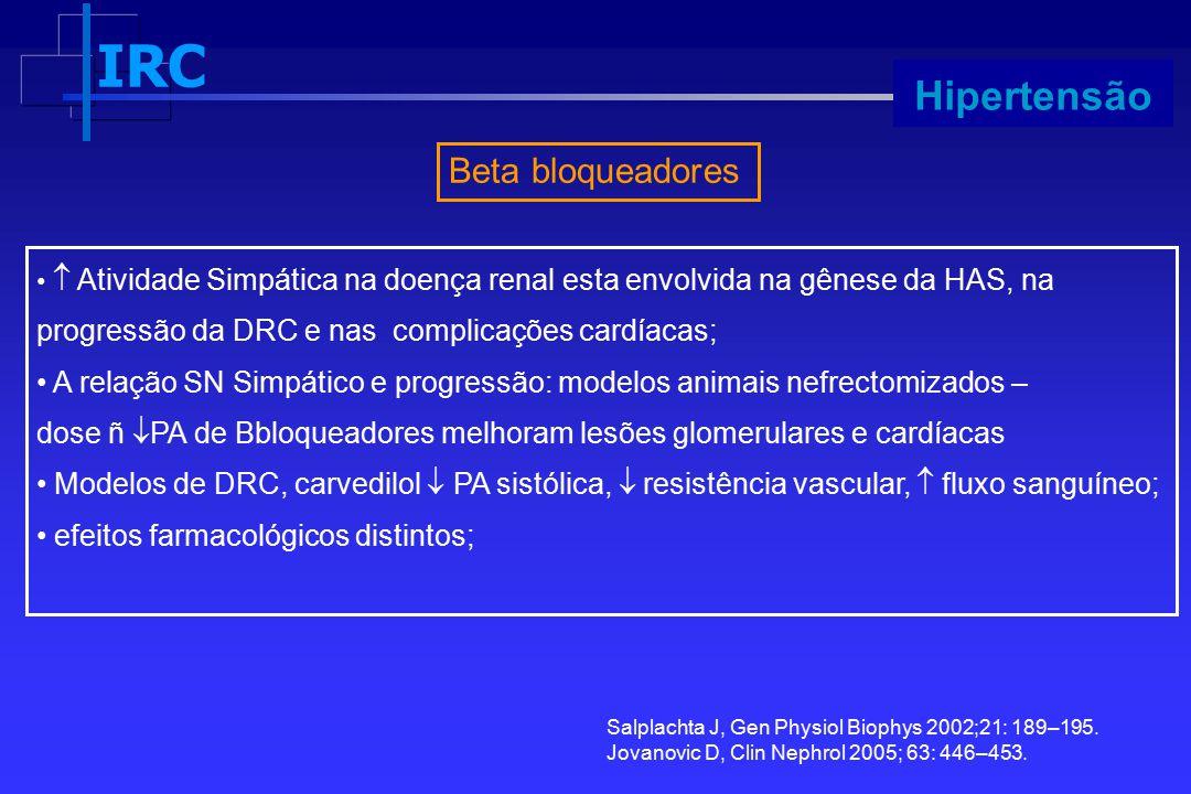 IRC Progressão Beta bloqueadores Hipertensão Salplachta J, Gen Physiol Biophys 2002;21: 189–195. Jovanovic D, Clin Nephrol 2005; 63: 446–453.  Ativid