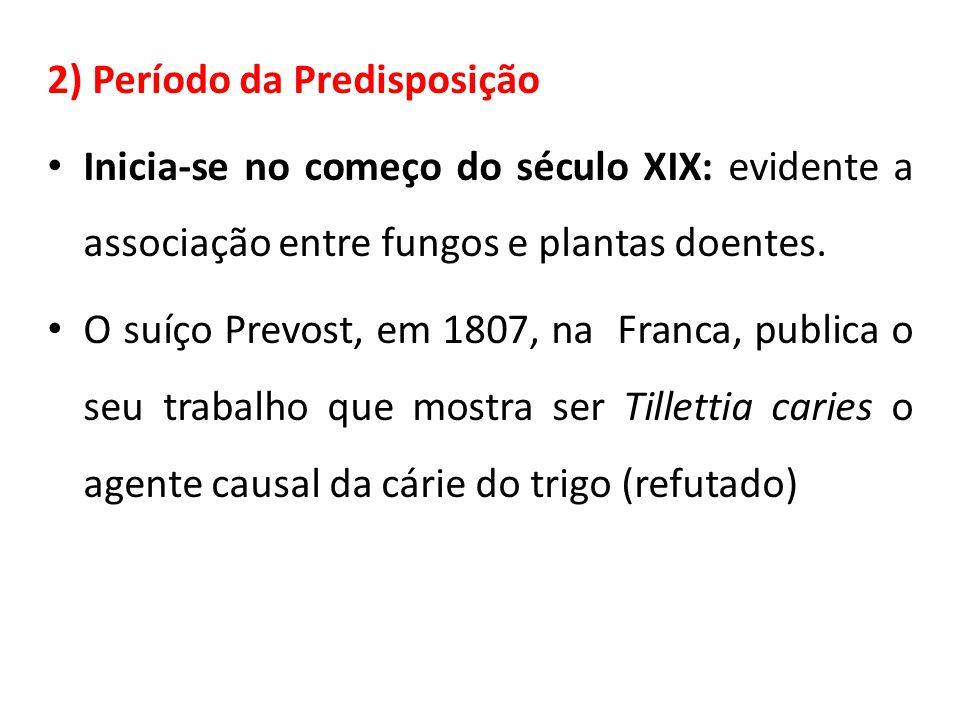 2) Período da Predisposição Inicia-se no começo do século XIX: evidente a associação entre fungos e plantas doentes.