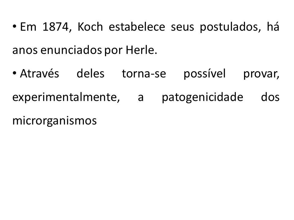 Em 1874, Koch estabelece seus postulados, há anos enunciados por Herle.