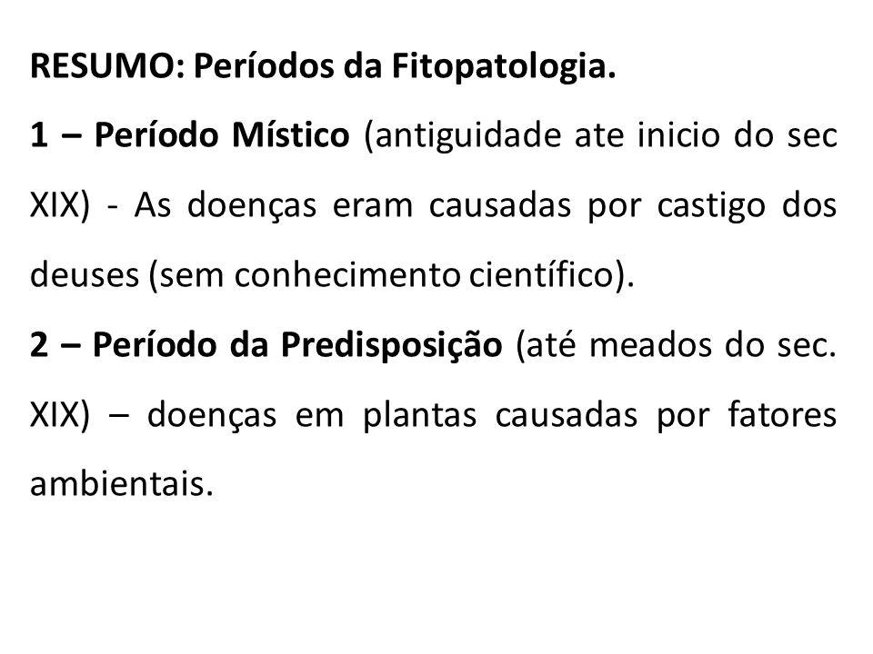 RESUMO: Períodos da Fitopatologia.