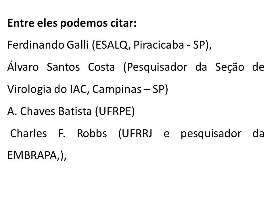 Entre eles podemos citar: Ferdinando Galli (ESALQ, Piracicaba - SP), Álvaro Santos Costa (Pesquisador da Seção de Virologia do IAC, Campinas – SP) A.
