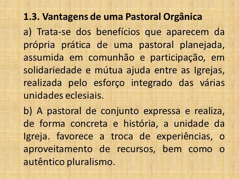 1.3. Vantagens de uma Pastoral Orgânica a) Trata-se dos benefícios que aparecem da própria prática de uma pastoral planejada, assumida em comunhão e p