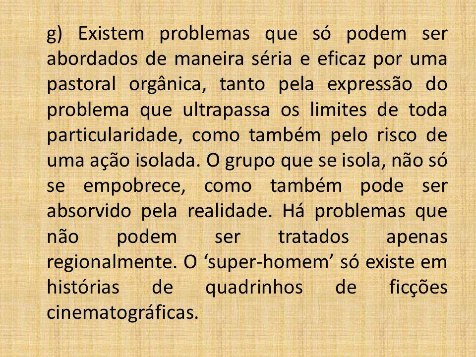 g) Existem problemas que só podem ser abordados de maneira séria e eficaz por uma pastoral orgânica, tanto pela expressão do problema que ultrapassa o