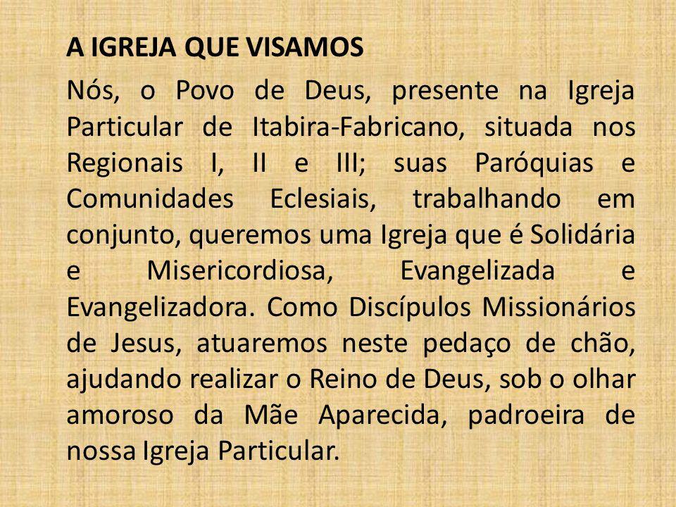 A IGREJA QUE VISAMOS Nós, o Povo de Deus, presente na Igreja Particular de Itabira-Fabricano, situada nos Regionais I, II e III; suas Paróquias e Comu