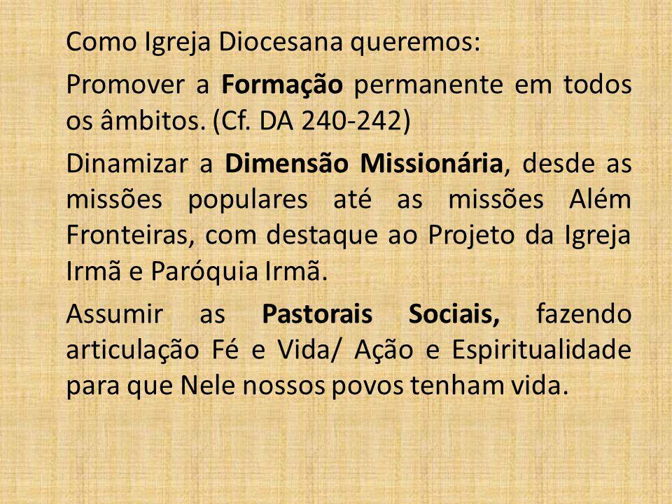 Como Igreja Diocesana queremos: Promover a Formação permanente em todos os âmbitos. (Cf. DA 240-242) Dinamizar a Dimensão Missionária, desde as missõe