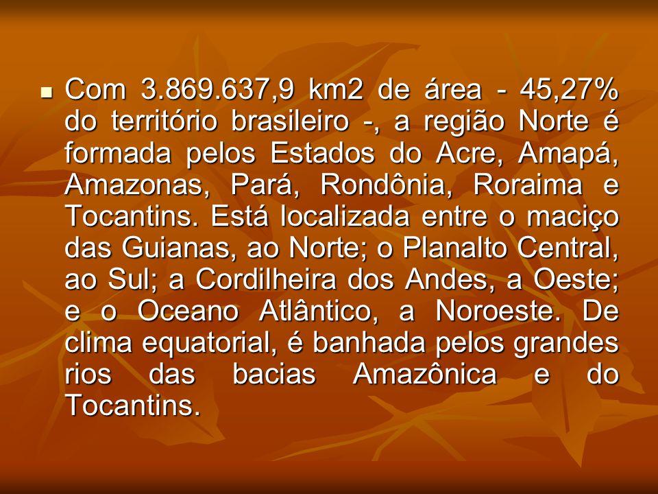 Com 3.869.637,9 km2 de área - 45,27% do território brasileiro -, a região Norte é formada pelos Estados do Acre, Amapá, Amazonas, Pará, Rondônia, Rora