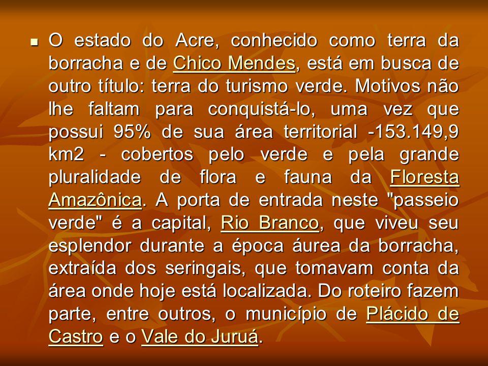 O estado do Acre, conhecido como terra da borracha e de Chico Mendes, está em busca de outro título: terra do turismo verde. Motivos não lhe faltam pa