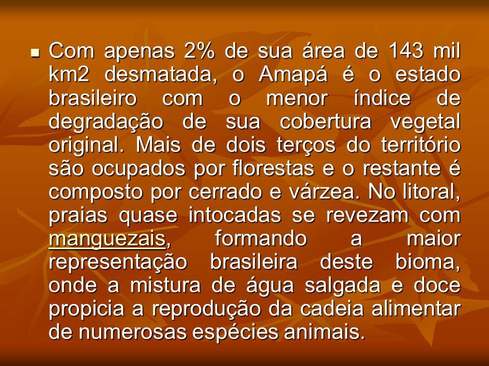 Com apenas 2% de sua área de 143 mil km2 desmatada, o Amapá é o estado brasileiro com o menor índice de degradação de sua cobertura vegetal original.