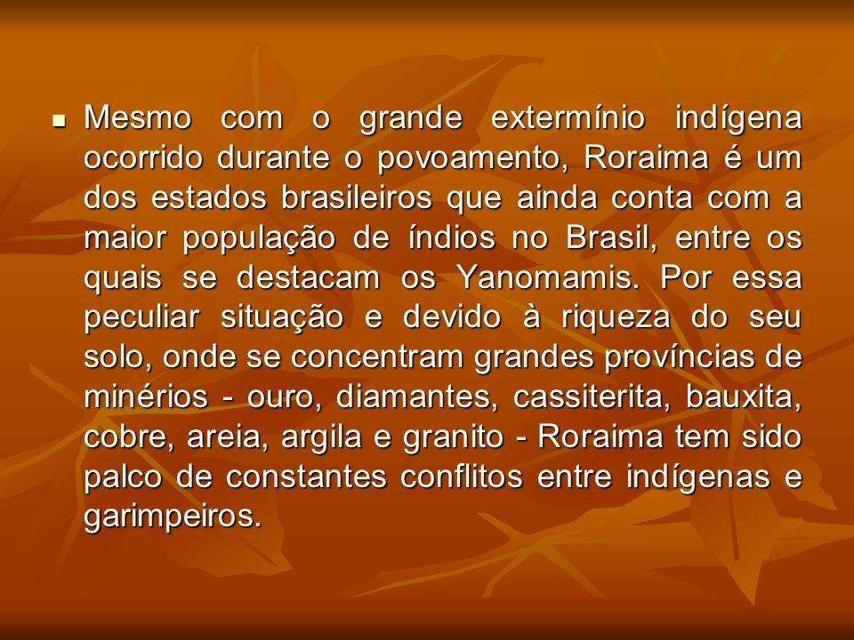 Mesmo com o grande extermínio indígena ocorrido durante o povoamento, Roraima é um dos estados brasileiros que ainda conta com a maior população de ín