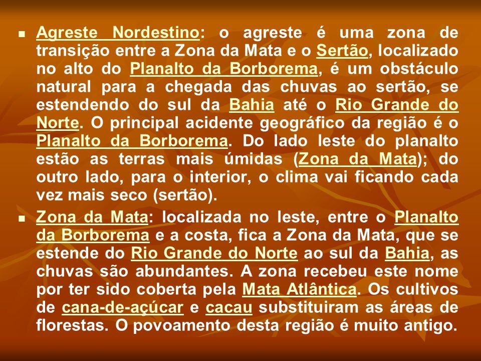 Agreste Nordestino: o agreste é uma zona de transição entre a Zona da Mata e o Sertão, localizado no alto do Planalto da Borborema, é um obstáculo nat