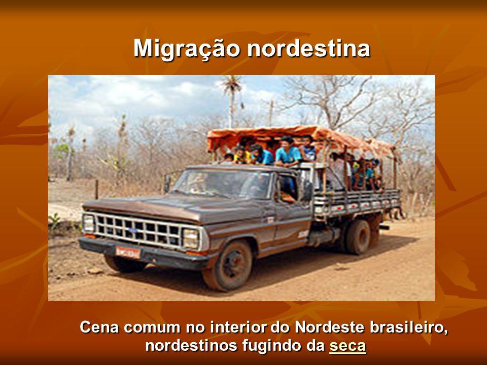 Migração nordestina Migração nordestina Cena comum no interior do Nordeste brasileiro, nordestinos fugindo da seca Cena comum no interior do Nordeste