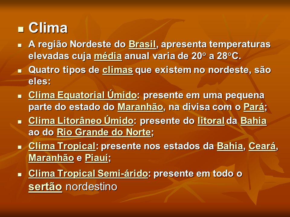 Clima Clima A região Nordeste do Brasil, apresenta temperaturas elevadas cuja média anual varia de 20° a 28°C. A região Nordeste do Brasil, apresenta