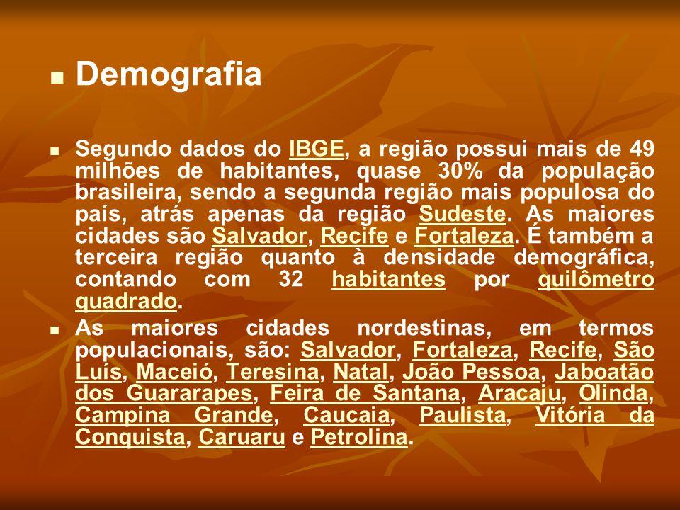 Demografia Segundo dados do IBGE, a região possui mais de 49 milhões de habitantes, quase 30% da população brasileira, sendo a segunda região mais pop