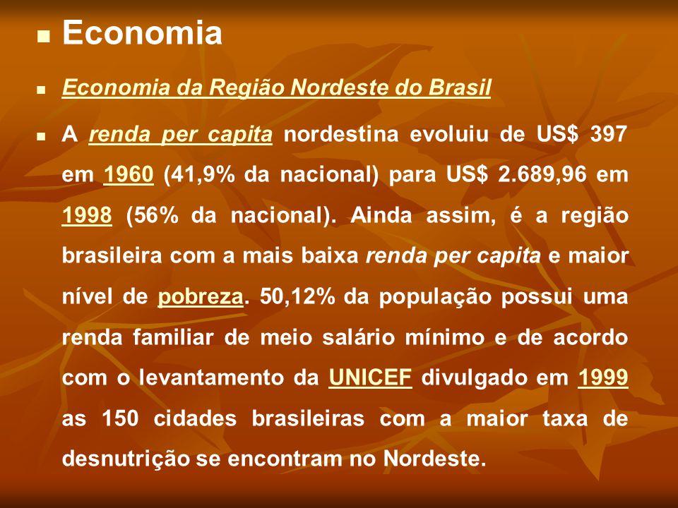 Economia Economia da Região Nordeste do Brasil Economia da Região Nordeste do Brasil A renda per capita nordestina evoluiu de US$ 397 em 1960 (41,9% d
