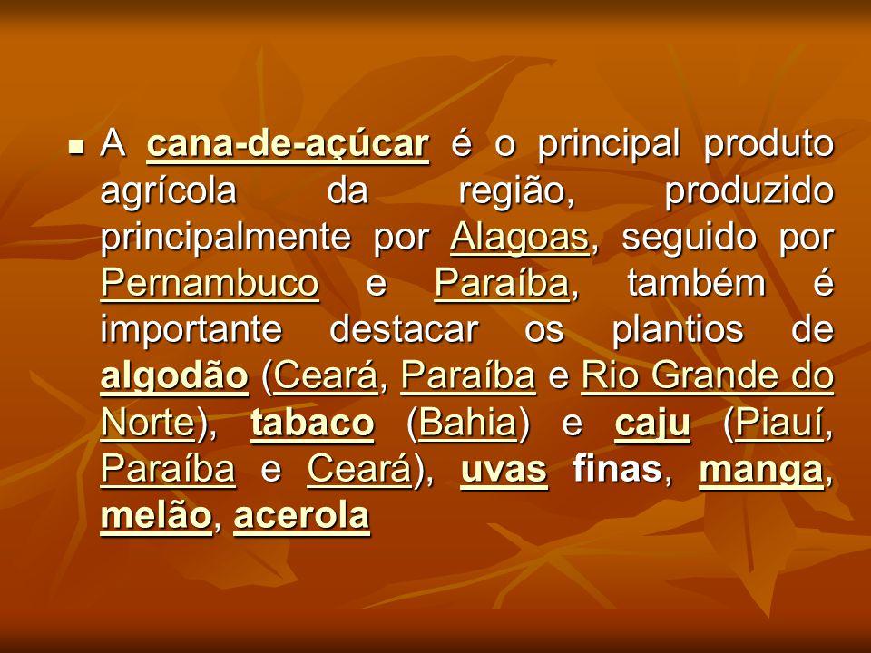 A cana-de-açúcar é o principal produto agrícola da região, produzido principalmente por Alagoas, seguido por Pernambuco e Paraíba, também é importante